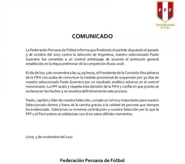 (Foto: Reprodução/Federación Peruana de Fútbol)