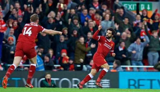 Salah celebra el primer gol del partido. | Imagen: @LFC