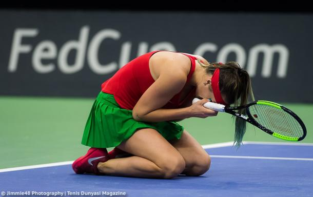 Aryna Sabalenka was in tears after grabbing the win, showing how emotional it was | Photo: Jimmie48 Tennis Photography