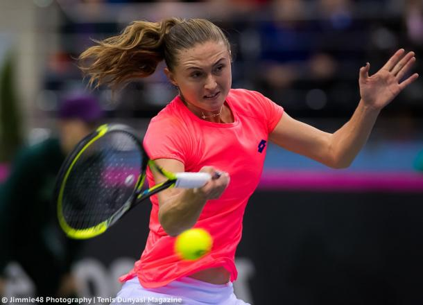 Aliaksandra Sasnovich in action during the Fed Cup final | Photo: Jimmie48 Tennis Photography