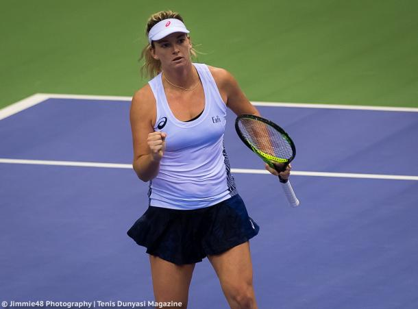 Coco Vandeweghe celebrates winning a point during the Fed Cup final | Photo: Jimmie48 Tennis Photography