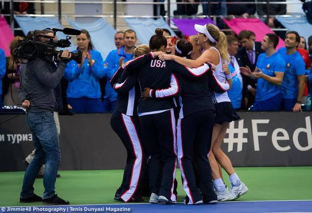 Team USA celebrates winning the title | Photo: Jimmie48 Tennis Photography