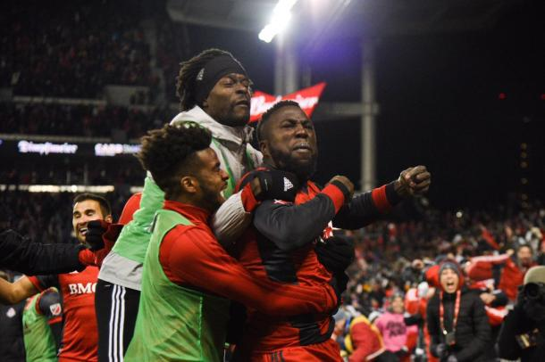 Jozy Altidore celebrates his game-winning goal | Source: torontofc.ca