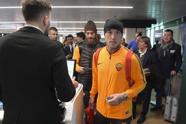 L'arrivo dei giallorossi a Madrid. | Fonte immagine: @OfficialASRoma