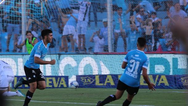 Brunetta y Brener, los goleadores ante Gimnasia | Foto: Belgrano Oficial.