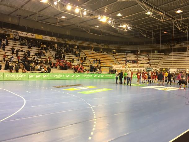 Imagen del Palacio de los Deportes al término del encuentro. Foto: BM Huesca.