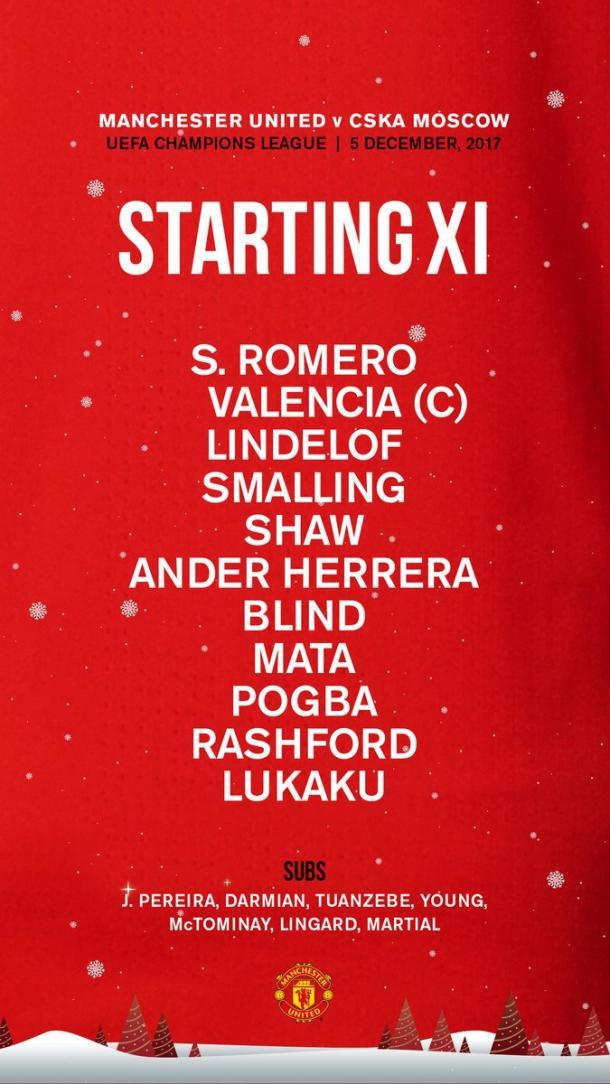 Alineación de los diablos rojos   Foto: Manchester United