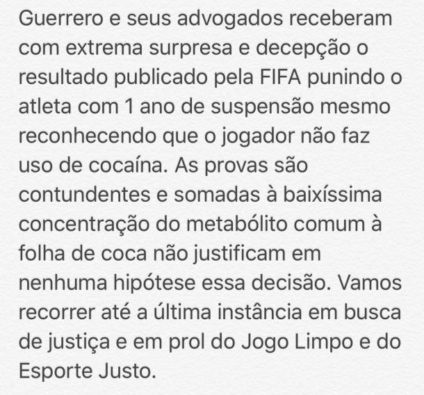 Paolo Guerrero, suspenso por doping, não vai ao Mundial