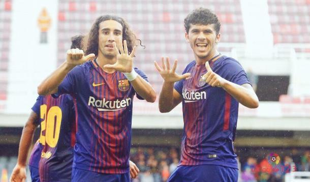 Marc Cucurella celebrando un gol con Carles Aleñá   FUENTE: LaLiga