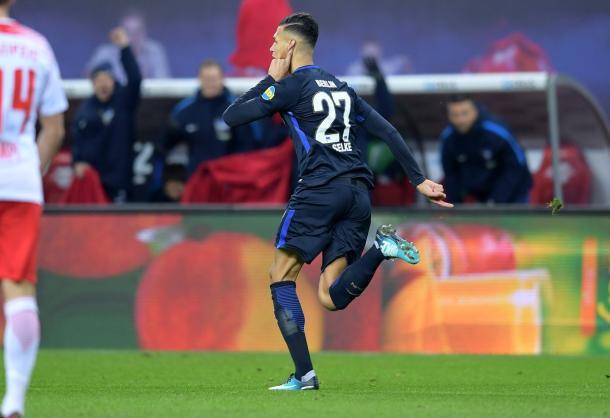 Ex-Leipzig, Selke comemora gol (Foto: Hertha BSC/ Divulgação)