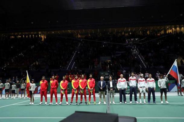 La serie entre España y Rusia por la fase de grupos de las finales de la Copa Davis en 2019 terminó a favor de los ibéricos por 2-1. Imagen: AFP.