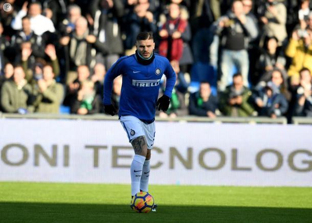Icardi calentando antes de un partido / Fuente: Inter de Milán