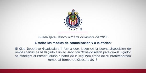 'Humo blanco' en Chivas: Oswaldo Alanís se reintegra con el primer equipo