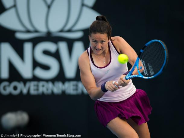 Lara Arruabarrena in action during the match | Photo: Jimmie48 Tennis Photography