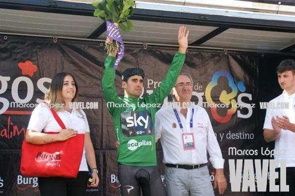 Mikel Landa con el maillot verde de la regularidad en la Vuelta a Burgos | Foto: Marcos López - VAVEL