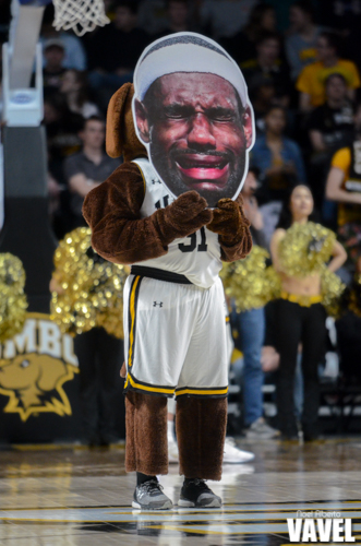 UMBC's mascot True Grit reacts to the introduction of the Hartford starting lineup