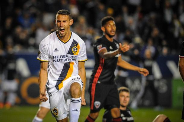 Daniel Steres celebrating his goal in his debut match for the Galaxy on Sunday against D.C. United. Photo provided by Steve Carrillo.