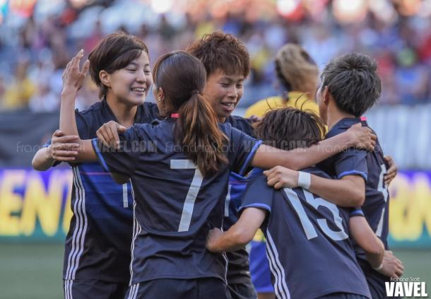 Japan celebrates after taking a 1-0 lead | Source: Francine Scott - VAVEL USA