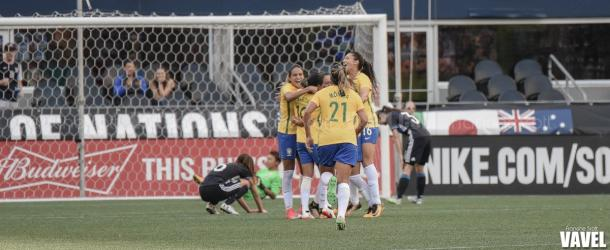 Brazil celebrates after leveling the score 1-1 | Source: Francine Scott - VAVEL USA