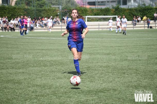 Laia en un partido con el filial ante el Sant Gabriel en 2017-2018 | Foto: Noelia Déniz - VAVEL