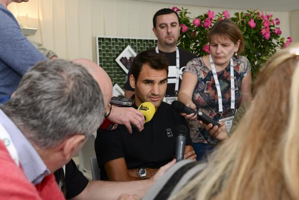 Federer speaks to the media at the pre-tournament press conference. Credit: Monte Carlo Rolex Masters