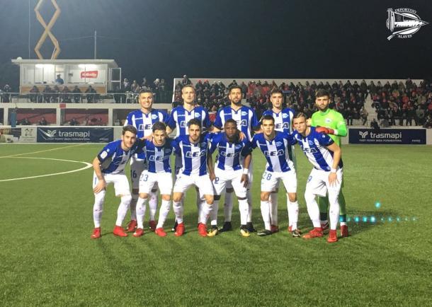 El once del conjunto albiazul para disputar el encuentro de ida de los Octavos de final. Fotografía: Deportivo Alavés