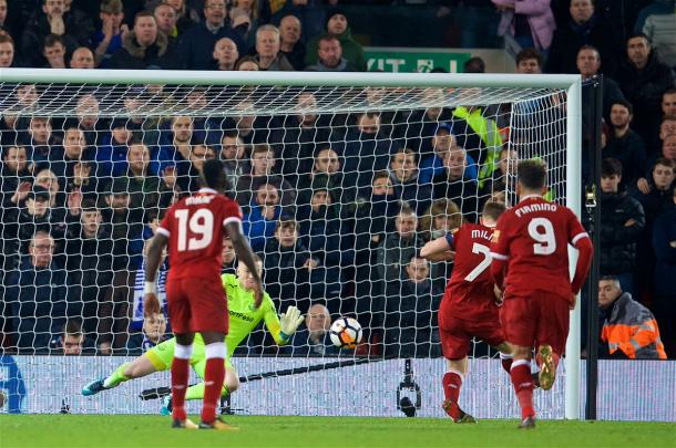 Milner coloca el 1-0 en el marcador | Foto: Liverpool.