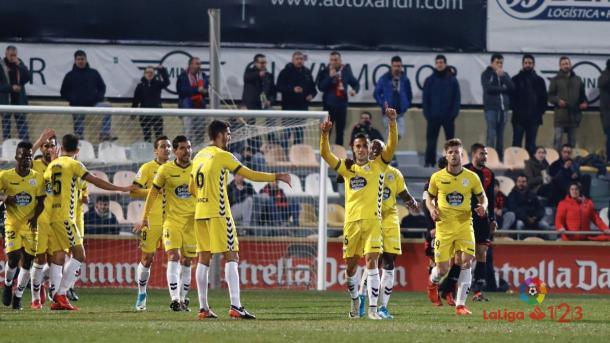Los jugadores del Lugo celebrando el gol de Cristian Herrera | Foto: LaLiga 1|2|3
