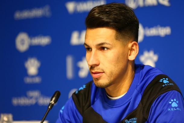 Hernán Pérez, recién llegado del Espanoyl, tuvo sus primeros minutos. Fuente: deportivoalaves.com