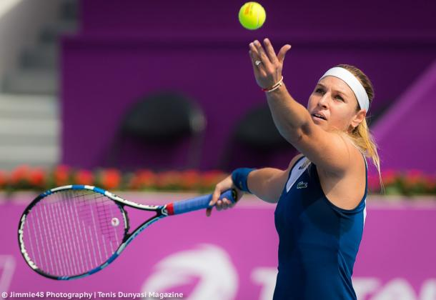 Dominika Cibulkova serving during her opening-round win | Photo: Jimmie48 Tennis Photography