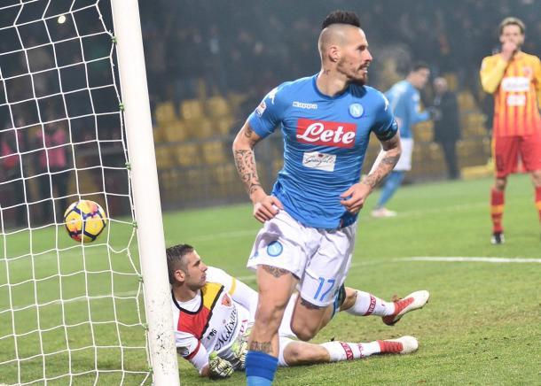 Hamsik celebra su gol ante el Benevento | Foto: SSC Napoli