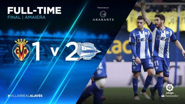Ibai Gómez celebra el segundo gol, junto a Munir, a los pocos momentos de entrar al campo. Fuente: deportivoalaves.com