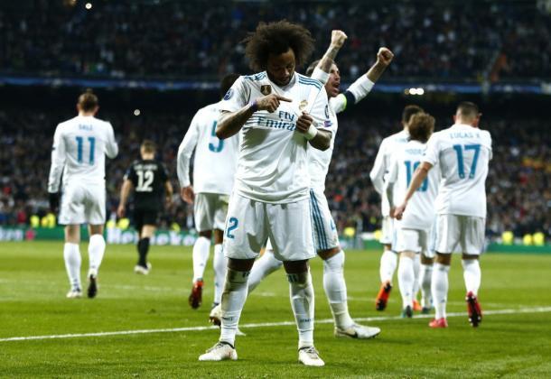 Celebración del gol de Marcelo al PSG. Fuente Real Madrid