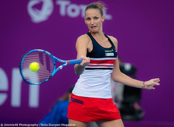 Karolina Pliskova in action at the Qatar Total Open | Photo: Jimmie48 Tennis Photography