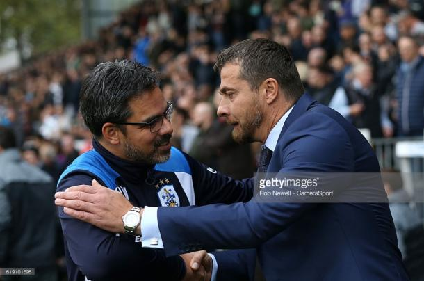 Slavisa Jokanovic and David Wagner shake hands prior to the start of the reverse fixture in October. Source - Getty Images.