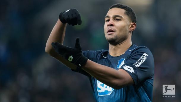 L'esultanza di Gnabry, autore del secondo gol dell'Hoffenheim. Foto: Twitter Bundesliga English