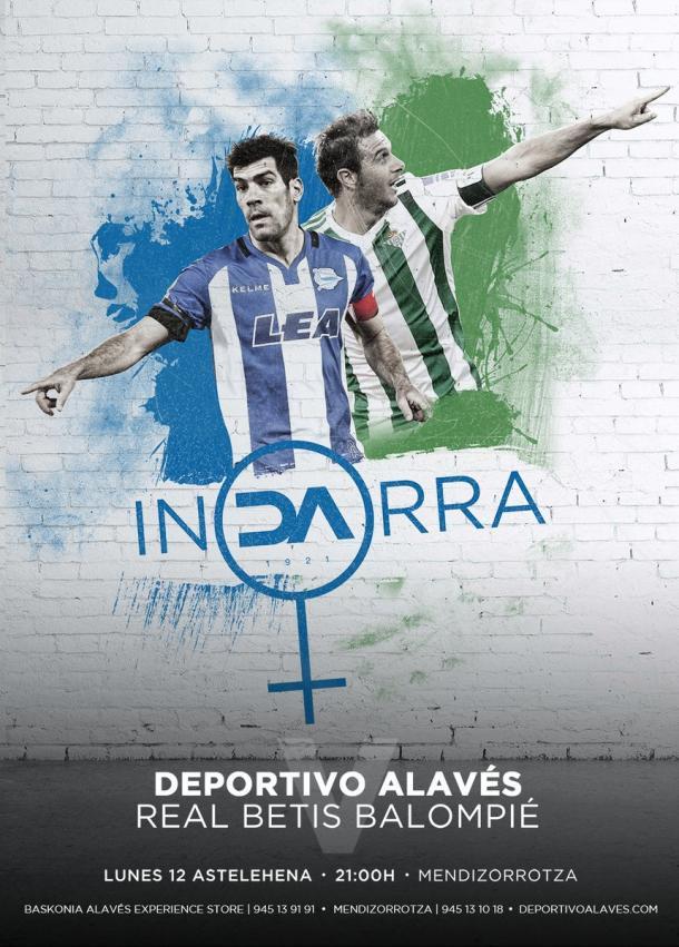 Cartel anunciador del partido del lunes, con el lema que lucirán en una camiseta especial. Fuente: deportivoalaves.com