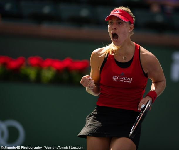 Angelique Kerber celebrates making the fourth round, having defeated both Makarova and Vesnina on her way there | Photo: Jimmie48 Tennis Photography