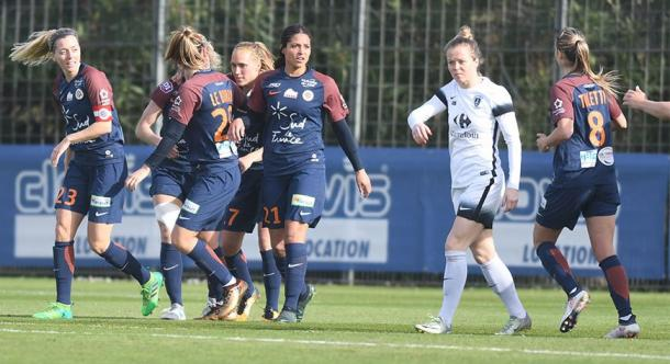 Montpellier hung on to get the win against Paris FC | Source: mhscfoot.com