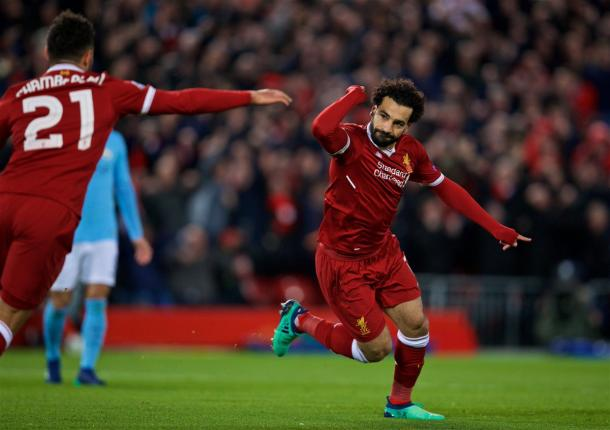 Salah esulta dopo il suo goal | Source photo: Twitter Liverpool FC