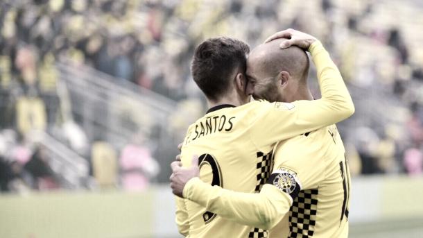 Pedro Santos celebrating his goal with Federico Higuain. | Photo: Columbus Crew SC
