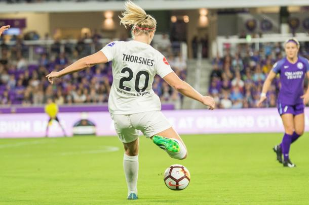 Elise Thorsnes had a good showing in her NWSL debut | Source: nwslsoccer.com