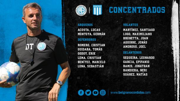 Los convocados por Lavallén | Foto: Belgrano Oficial.