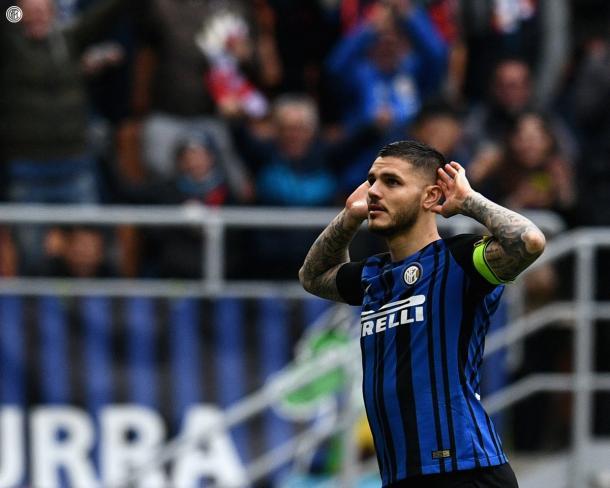 Mauro Icardi festejando un gol. Foto: Inter.it