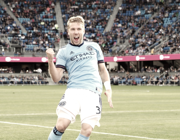 Anton Tinnerholm celebrating the equalizer. | Photo: New York City FC