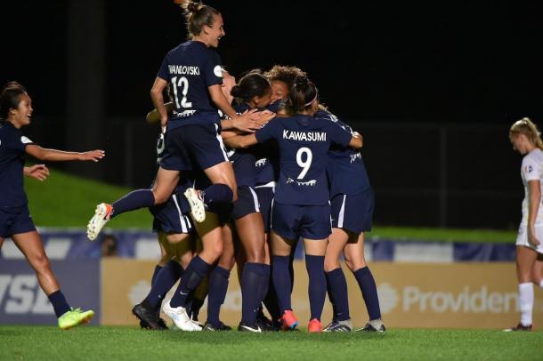 Sky Blue FC swallows Jen Hoy in celebration after she scores. | Photo: isiphotos.com via @SkyBlueFC