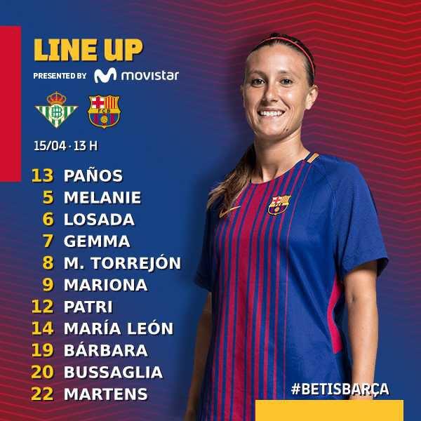 Once inicial del Fútbol Club Barcelona ante el Real Betis Féminas | @FCBfemeni en Twitter