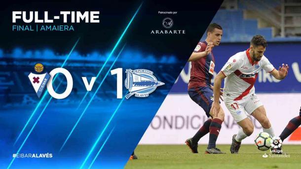 El 0-1 que reflejaba el marcador supone la victoria en un derby vasco para el Alavés, esta temporada. Fuente: deportivoalaves.com