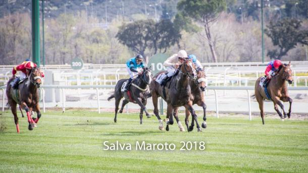 Abrantes, por el centro de la pista, yéndose a ganar sobre el resto de sus rivales. FUENTE: Salva Maroto - @colosseo3