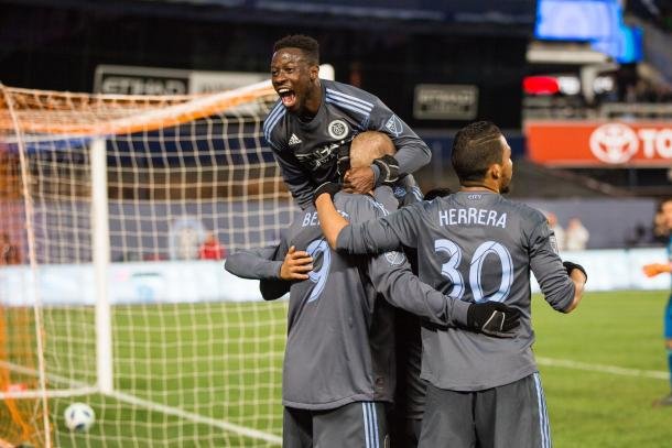 NYCFC celebrating their third goal of the match. | Photo: New York City FC
